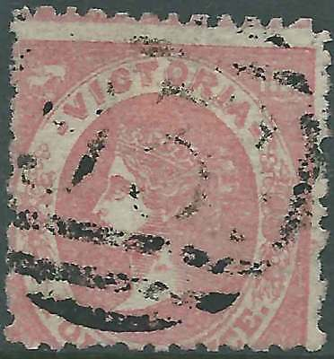 VICTORIA 1859 Emblem 4d Carmine SMALL RE-SIZE rouletted ACSC21a lovely fine used