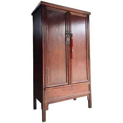 Wardrobe Cupboard Cabinet  Chinese Stained Pine Tall Antique Style