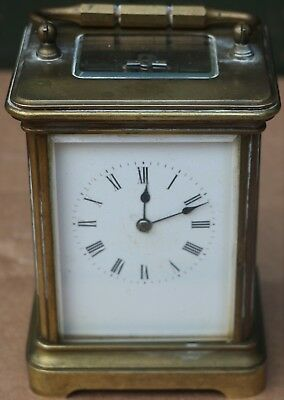 Old Large Heavy Quality Dirty Brass Striking Carriage Clock With Bell To Repair