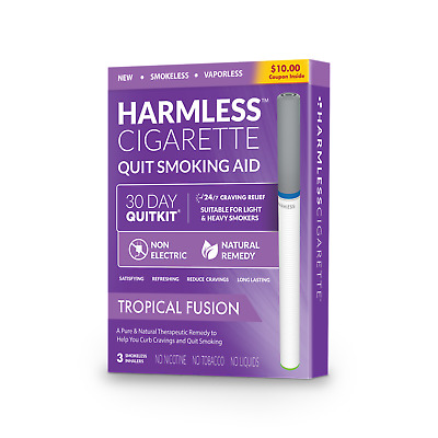 Harmless Cigarette Stop Smoking Aid / 4 Week Quit Kit + Support Guide (3 Pack)