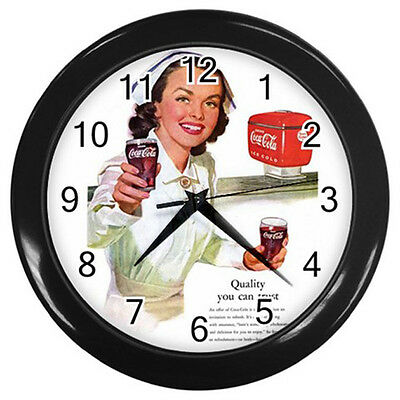 Wall Clock Nurse With Ice Cold - Coca-Cola Coke Retro Ads 1952 Retro Rare! BLACK