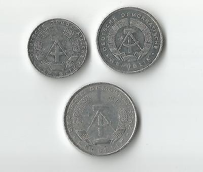 Germany trio of old aluminium coins 1, 5 & 10 Pfennig