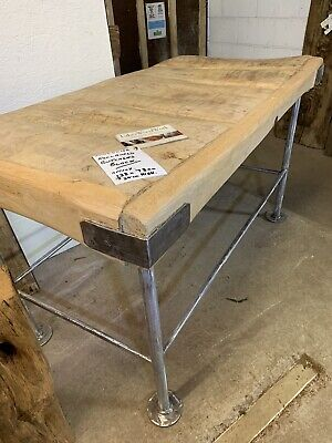 BEAUTIFUL RESTORED - Butchers Block Table - Contemporary Industrial Steel Legs
