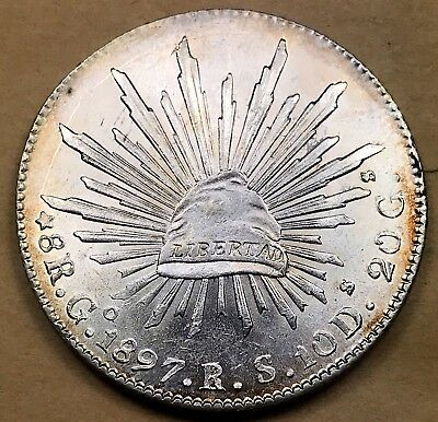 1897 Mexico Silver 8 Reales  Choice UNC