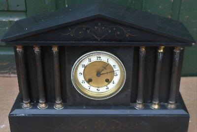 Large Old Black Slate Mantel Clock With 6 Pillars To Front