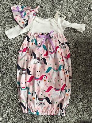 NWT Baby Girl Pink Horse Sleep Sack Dress and Hat 0-3mo