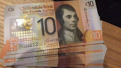 Uncirculated CLYDESDALE Bank Polymer £10 Consecutive ZZ