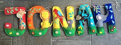 Handmade Name Banner Colourful Jungle Animals Garland Bunting Felt Decoration