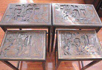 2 Pair Antique Chinese Carved Hardwood NestingTables 19th/20th