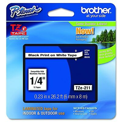 """Brother P-touch ~1/4"""" (0.23"""") Black on White Standard Laminated Tape - 26.2 f..."""