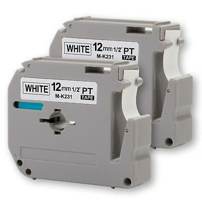 """2PK Onirii Compatible Brother P-touch M231 MK231 M-k231 Label Tape (0.47"""")12m..."""