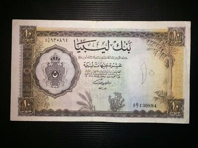 Libya 10 Libyan Pounds Banknote - 1963 -Pick 27 Hard To Find At This Condition
