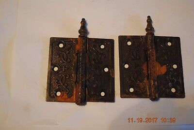 (2) Antique Ornate Door Hinges Steeple Tip Cast Iron Victorian