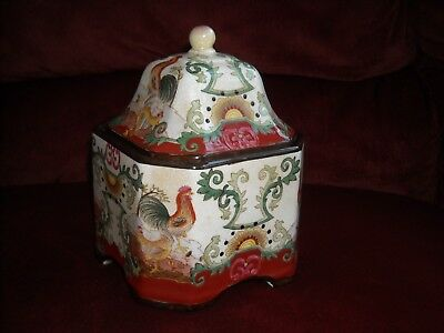 Vintage Chinese Asian Square Jar, Roosters, Signed