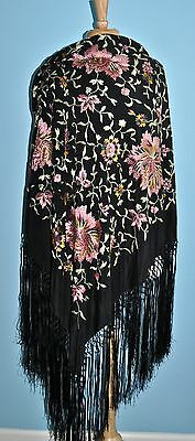 Antique Black Silk Floral Embroidered Chinese Piano Shawl
