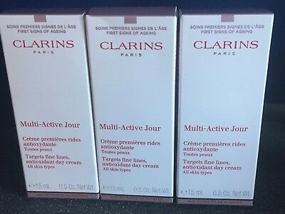 Clarins Multi Active Day Cream 3 x 15ml All Skin Types New Boxed