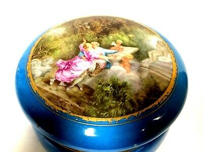 Antique Hand Painted Old Paris Porcelain Box with Lovers Scene