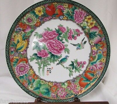 """Vintage Chinese Charger  Signed decorated with Bird Pomegranate Peach 13"""""""