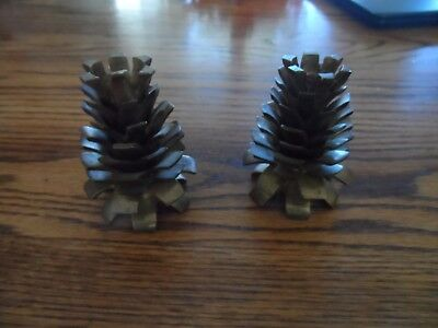Pinecone Solid Brass Heavy Pine Cones Candle Holder Pair Lot of 2 Candlestick