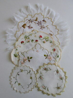 5 SOCIETY SILK EMBROIDERED DOILIES Coasters Strawberries Flowers ANTIQUE Lot