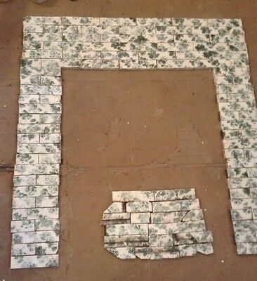 COMPLETE SET VINTAGE VICTORIAN ANTIQUE FIREPLACE TILE  MANTLE Majolica Tiles N T