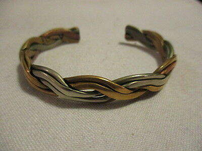 COPPER  Vintage Intertwined with Goldtone & Silvertone Cuff Bracelet  6 1/2""