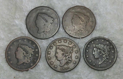 Large Cents (5 different middle dates) - free shipping