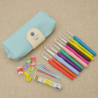 Ergonomic Grip Crochet Hooks Kit Yarn Knitting Needles Sew Tool HandCraft Set