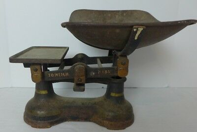 Antique Vintage Cast Iron and Brass 7 LB Counter Scale General / Candy Store
