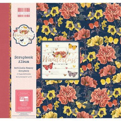 "Wanderlust Scrapbook Craft Memory Book Photo Snapload Album 12x12"" - Flowers"