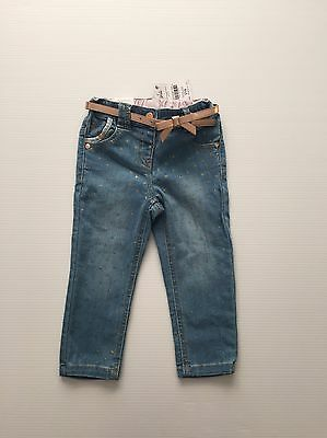 Next Stretchy Jeans With Bow Belt Age 18-24 Months Baby Girls BNWT