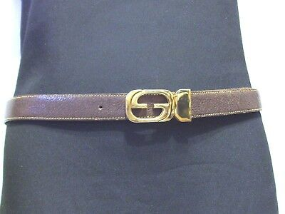 Gucci Ladies Reversible  Brown Tan Leather Belt W Double G Logo Buckle