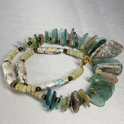 Rare Ancient Patina Roman Glass Beads Lovely Necklace   # C2