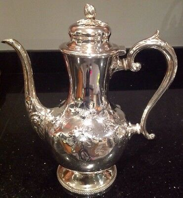 Vintage Large Bulbous Silver Plated Coffee Pot With Acorn Finial