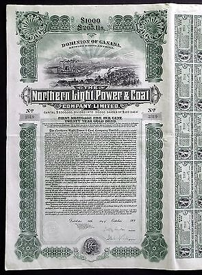 1909 Kanada: Northern Light, Power & Coal Company - Gold Bond