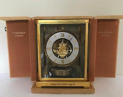 Jaeger LeCoultre ATMOS Swiss Mantel Clock W/ BOX & PAPERS RUNS - 1957