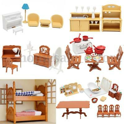 Doll House Furniture Set Living Room Kitchen Bathroom kids Pretend Play Toy