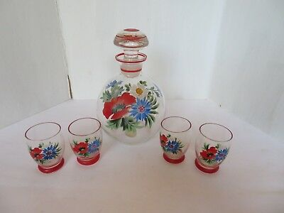 Czechoslovakian Hand Painted Glass Decanter Set Vintage