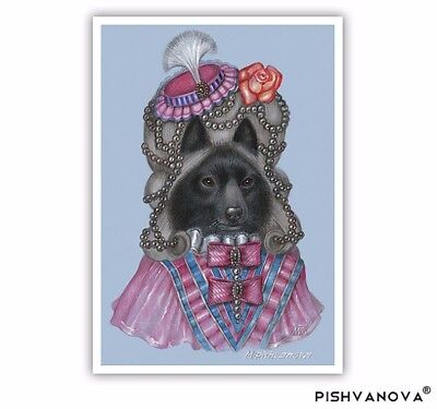 Schipperke Art Print - Marquise - Dogs in Pink - Black Dogs in Clothes