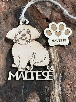 MALTESE Christmas Ornament & 2 FREE MAGNETS FAMILY PET