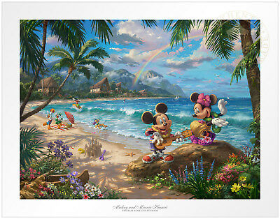Thomas Kinkade Disney Mickey and Minnie in Hawaii 18 x 24 S/N LE Paper