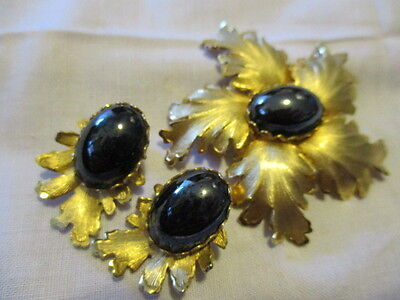 Brushed Goldtone Leaf Pin and Clip on Earrings with Black Onyx Stones