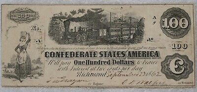 September 23rd, 1862 Confederate $100 One Hundred Dollar Note with Interest Paid