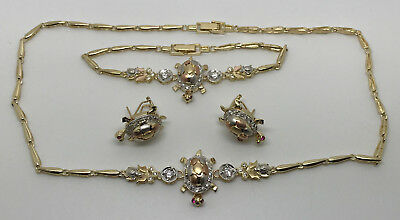New 14k Yellow Gold Pink Sapphires Turtle Earrings, Necklace, & Bracelet Set