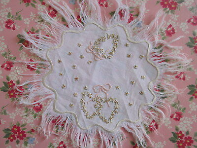 SOCIETY SILK EMBROIDERED DOILY Hearts Ribbons Flowers Scallops Fringe ANTIQUE