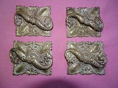 Antique Sewing Machine Ornate Brass Drawer Pull 4 Each