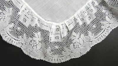 Flanders Lace Cotton Hanky - Vintage French - Fine Deep Gathered Lace!