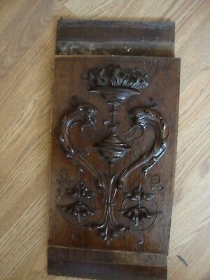 """SALVAGED ANTIQUE WALNUT CARVED PANEL  9""""x14""""  1/2"""" THICK RESTORE"""