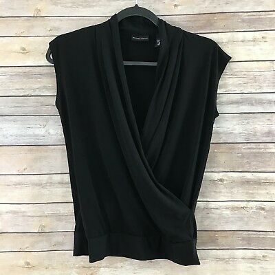 New York & Co. Womens Small Black Faux Wrap Front Knit Top Sleeveless Career