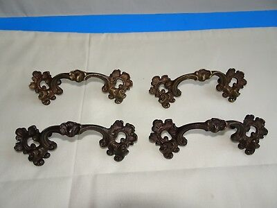 Vintage Brass Drawer Pulls Victorian 4 Each 5 1/4 Long w/hrdw